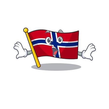 Surprised norway flag is flown on character pole vector illustration
