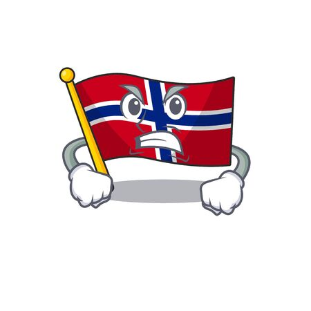 Angry norway flag is flown on character pole vector illustration Ilustrace