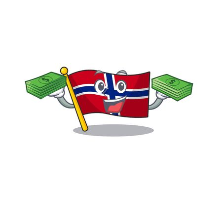 With money norway flag is flown on character pole vector illustration