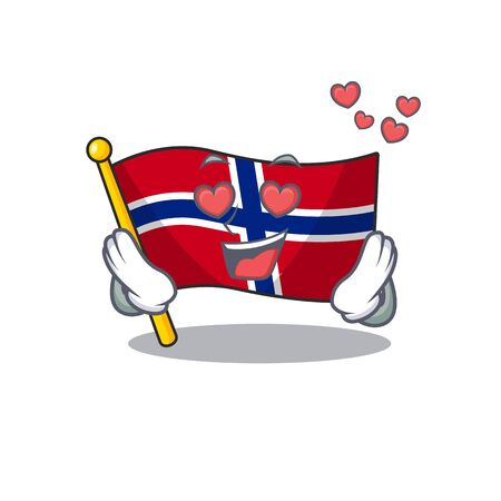 In love norway flag is flown on character pole vector illustration Ilustrace