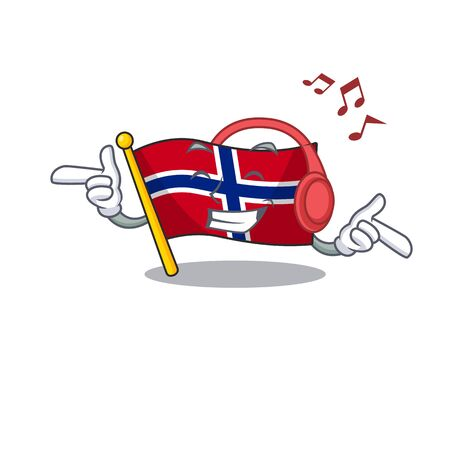 Listening music norway flag is flown on character pole vector illustration