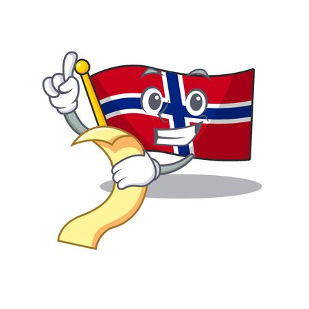 With menu norway flag is flown on character pole vector illustration Ilustrace