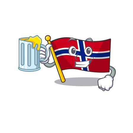 With juice norway flag is flown on character pole vector illustration Ilustrace