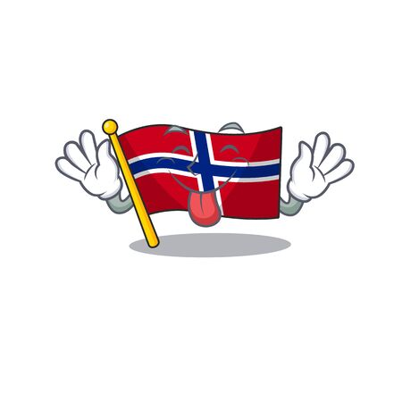 Tongue out norway flag placed in character cupboard vector illustration