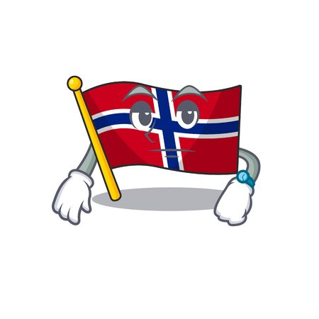 Waiting norway flag placed in character cupboard vector illustration