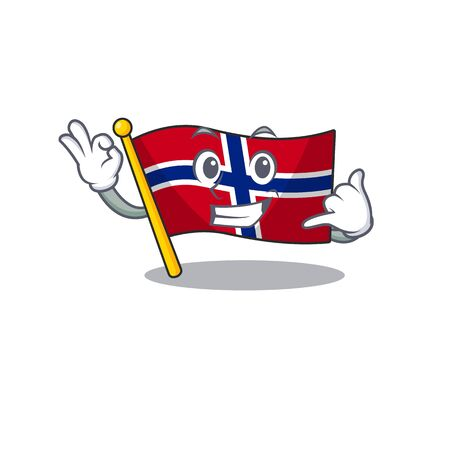Call me norway flag placed in character cupboard vector illustration Çizim