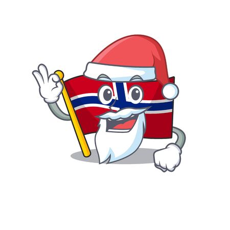 Santa norway flag placed in character cupboard vector illustration Ilustrace