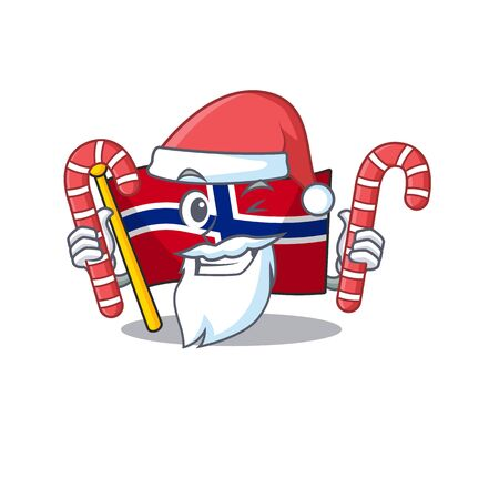 Santa with candy norway flag placed in character cupboard vector illustration