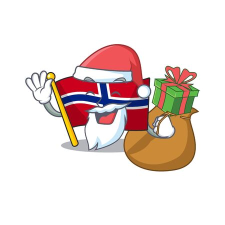Santa with gift norway flag placed in character cupboard vector illustration