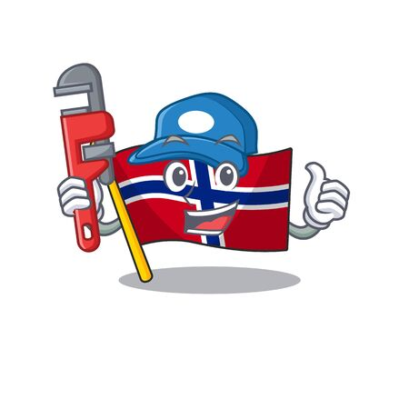 Plumber norway flag placed in character cupboard vector illustration Ilustrace
