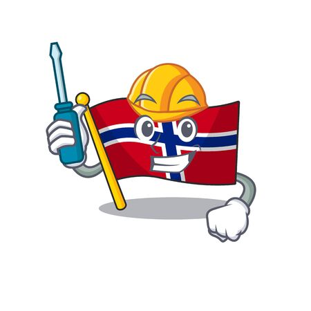 Automotive norway flag placed in character cupboard vector illustration