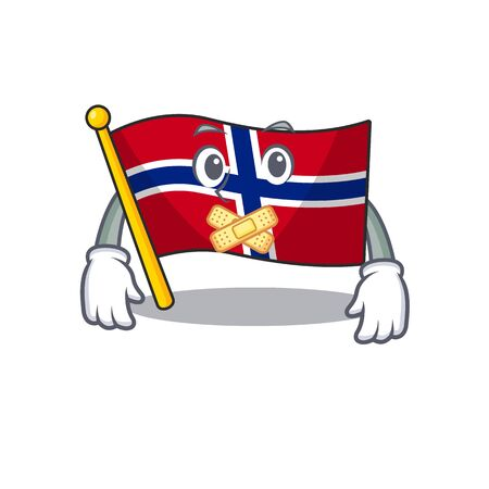 Silent norway flag placed in character cupboard vector illustration Çizim
