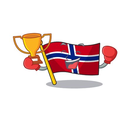 Boxing winner norway flag placed in character cupboard vector illustration Ilustrace