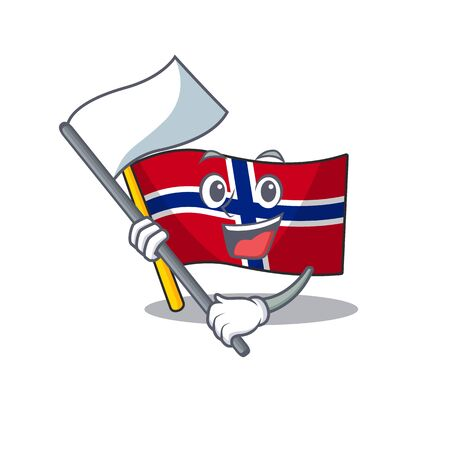 With flag norway flag placed in character cupboard vector illustration