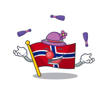 Juggling norway flag placed in character cupboard vector illustration