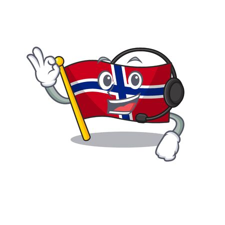 With headphone norway flag placed in character cupboard vector illustration