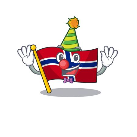 Clown norway flag placed in character cupboard vector illustration