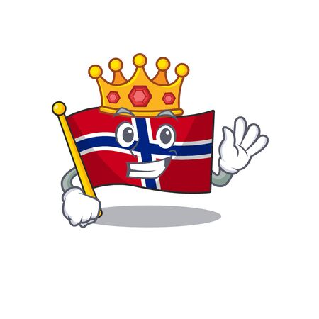 King norway flag placed in character cupboard vector illustration