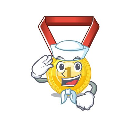 Sailor gold medal stored in character drawer vector illustration Illusztráció