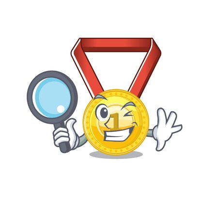 Detective gold medal with the character shape vector illustration Çizim