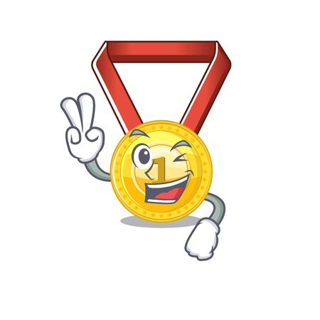 Two finger gold medal with the character shape vector illustration