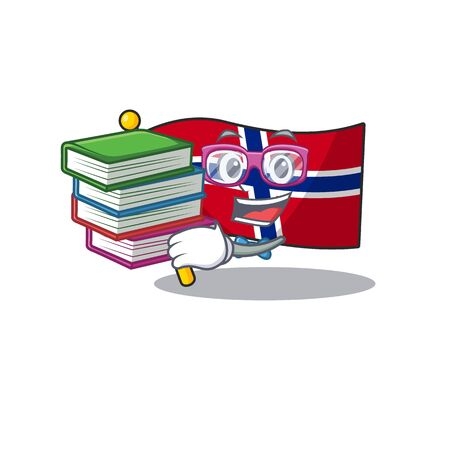 Student with book norway flag placed in character cupboard vector illustration Ilustrace