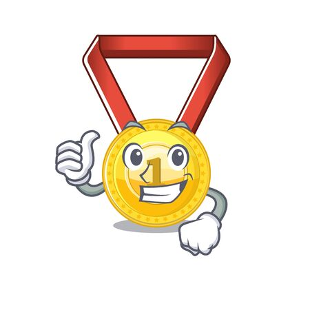 gold medal with the character shape vector illustration
