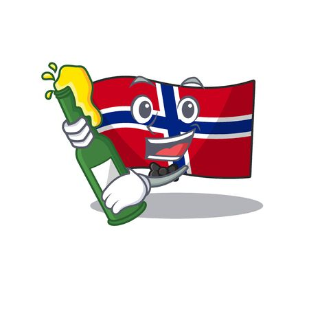 With beer norway flag placed in character cupboard vector illustration Иллюстрация