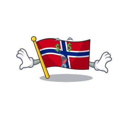 Money eye norway flag placed in character cupboard vector illustration Ilustrace
