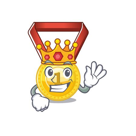 King gold medal hung on cartoon wall vector illustration