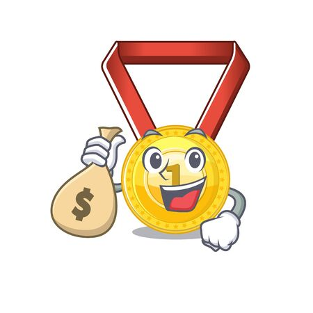 With money bag gold medal stored in character drawer vector illustration