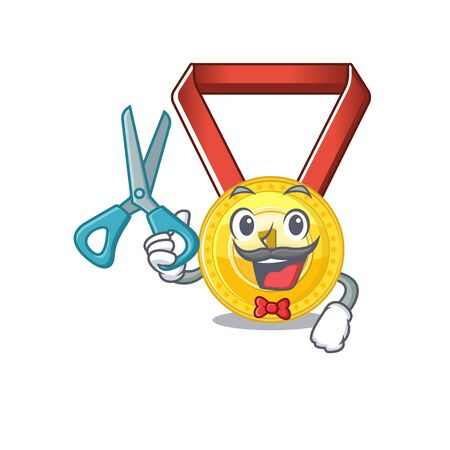 Barber gold medal stored in character drawer vector illustration