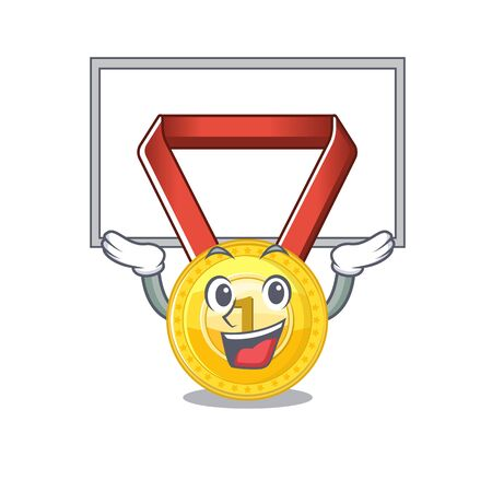 Up board gold medal stored in character drawer vector illustration