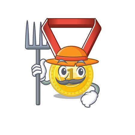 Farmer gold medal stored in character drawer vector illustration Çizim