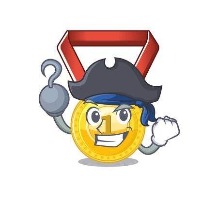 Pirate gold medal stored in character drawer vector illustration