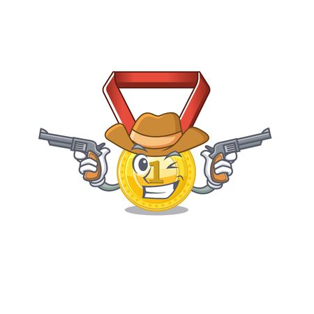 Cowboy gold medal stored in character drawer vector illustration