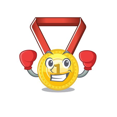 Boxing gold medal stored in character drawer vector illustration Ilustração