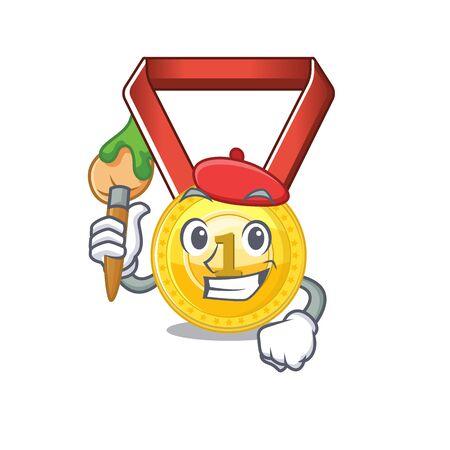 Artist gold medal stored in character drawer vector illustration Иллюстрация