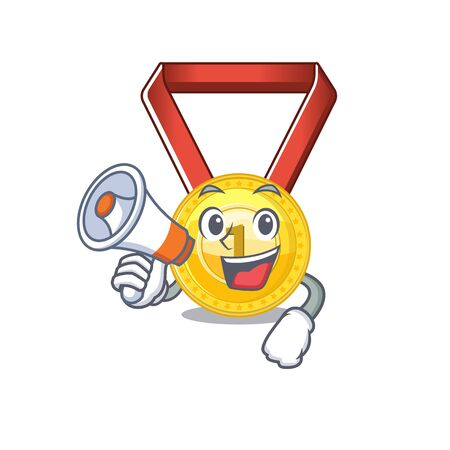 With megaphone gold medal stored in character drawer vector illustration