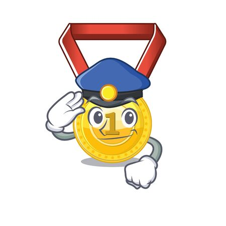 Police gold medal stored in character drawer vector illustration Ilustração