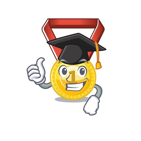 Graduation gold medal with the character shape vector illustration