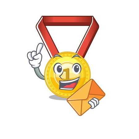 With envelope gold medal with the character shape vector illustration Stock Illustratie