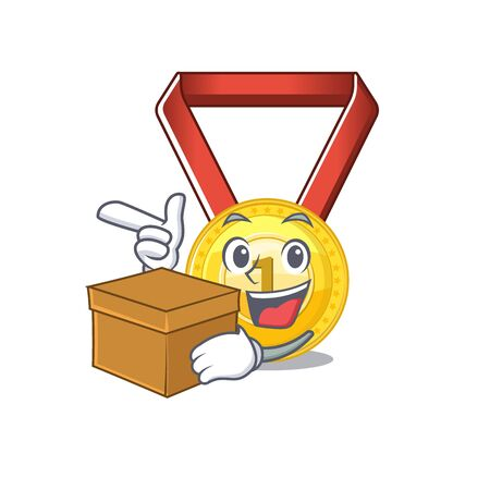 With box gold medal with the character shape vector illustration