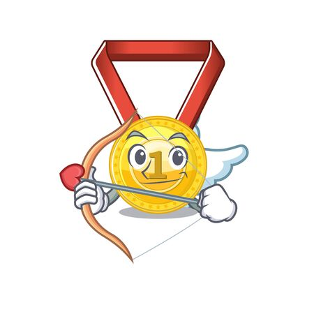 Cupid gold medal stored in character drawer vector illustration
