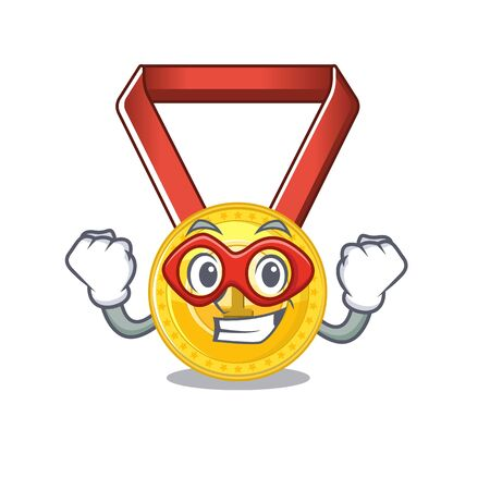 Super hero gold medal with the character shape vector illustration
