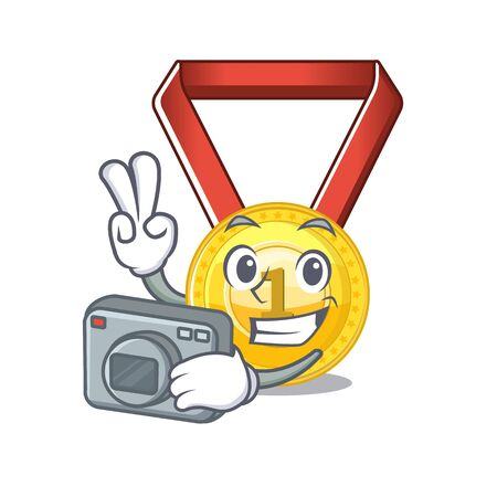 Photographer toy gold medal shaped on mascot vector illustration 스톡 콘텐츠 - 129792570