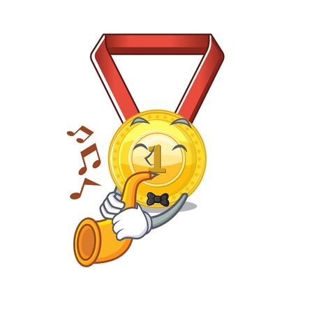 With trumpet toy gold medal shaped on mascot vector illustration Иллюстрация