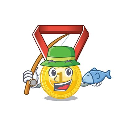 Fishing toy gold medal shaped on mascot vector illustration