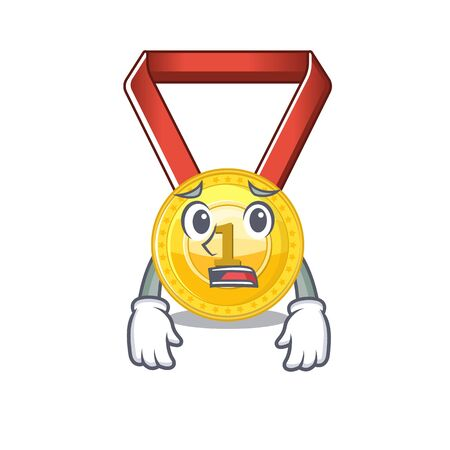 Afraid toy gold medal shaped on mascot vector illustration Иллюстрация