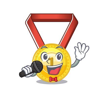 Singing toy gold medal shaped on mascot vector illustration Иллюстрация